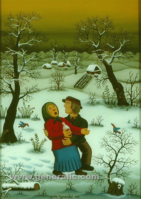 Josip Generalic, 1985, Happy couple, oil on glass