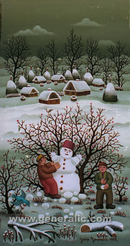 Josip Generalic, 1985, Making a snowman, oil on glass