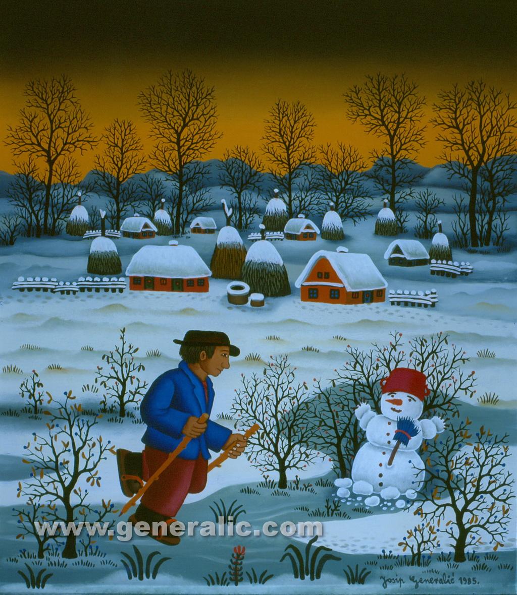 Josip Generalic, 1985, Skater and snowman, oil on glass