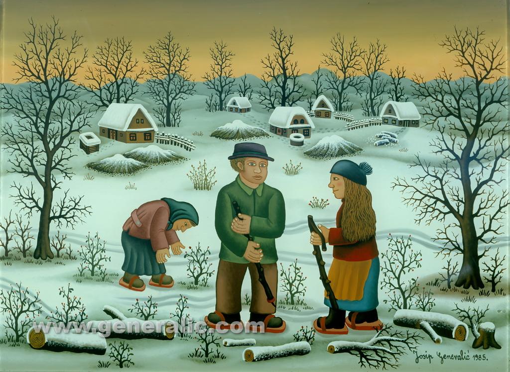 Josip Generalic, 1985, Skaters in winter, oil on glass