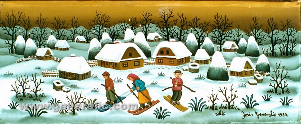 Josip Generalic, 1985, Three skiers, oil on glass
