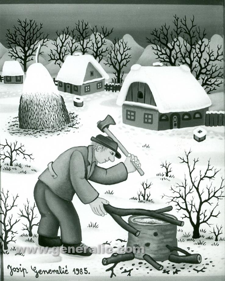 Josip Generalic, 1985, Wood chopping, oil on glass