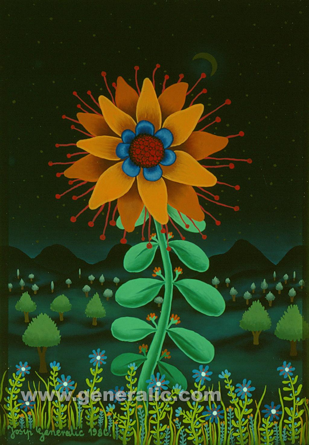 Josip Generalic, 1986, Yellow flower, oil on glass