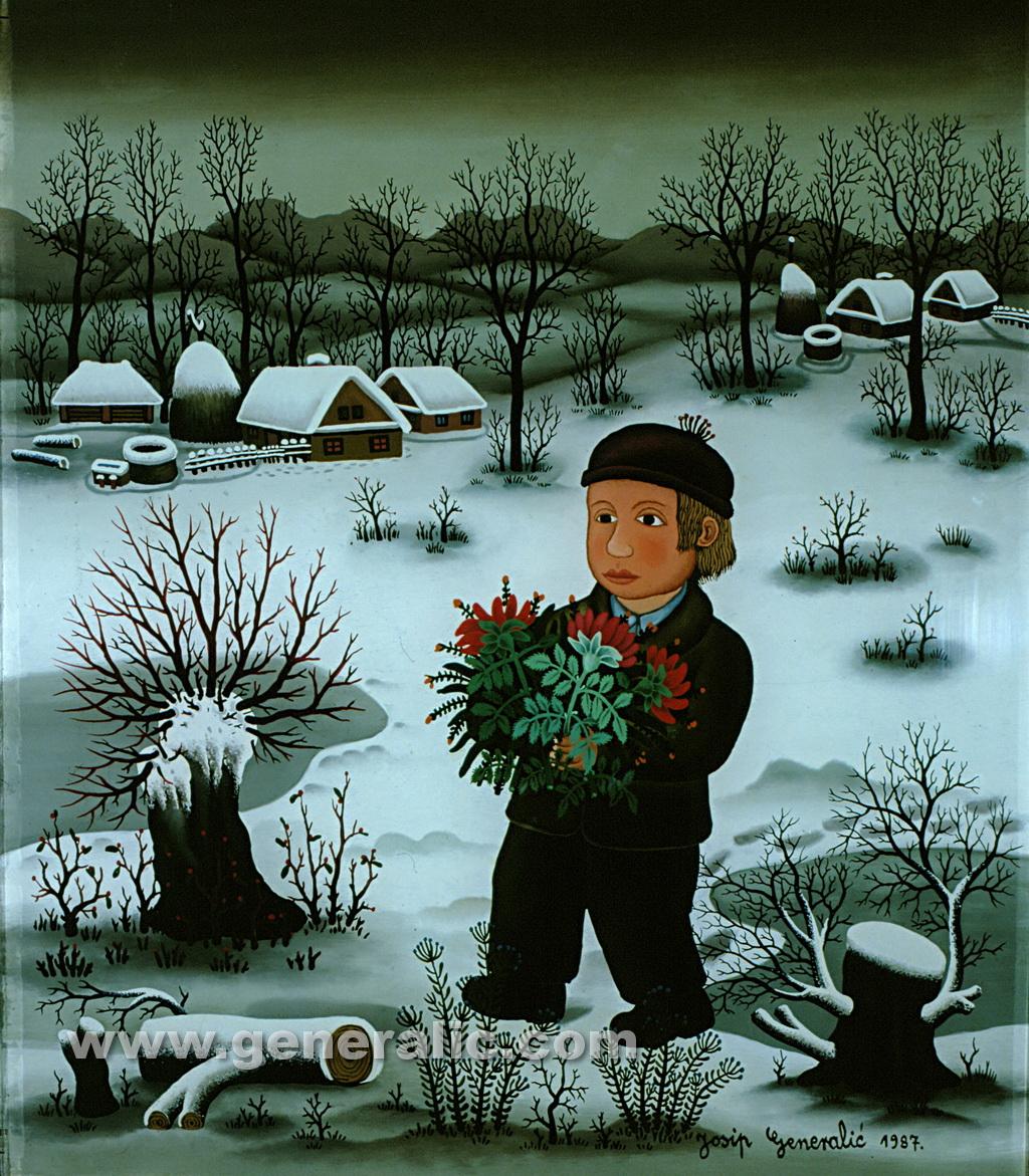 Josip Generalic, 1987, Boy with flowers, oil on glass