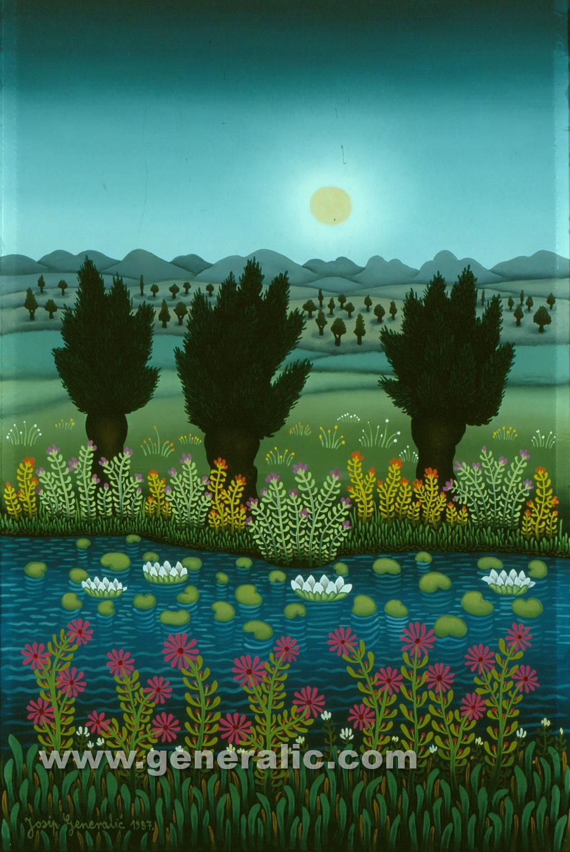 Josip Generalic, 1987, Landscape, oil on glass
