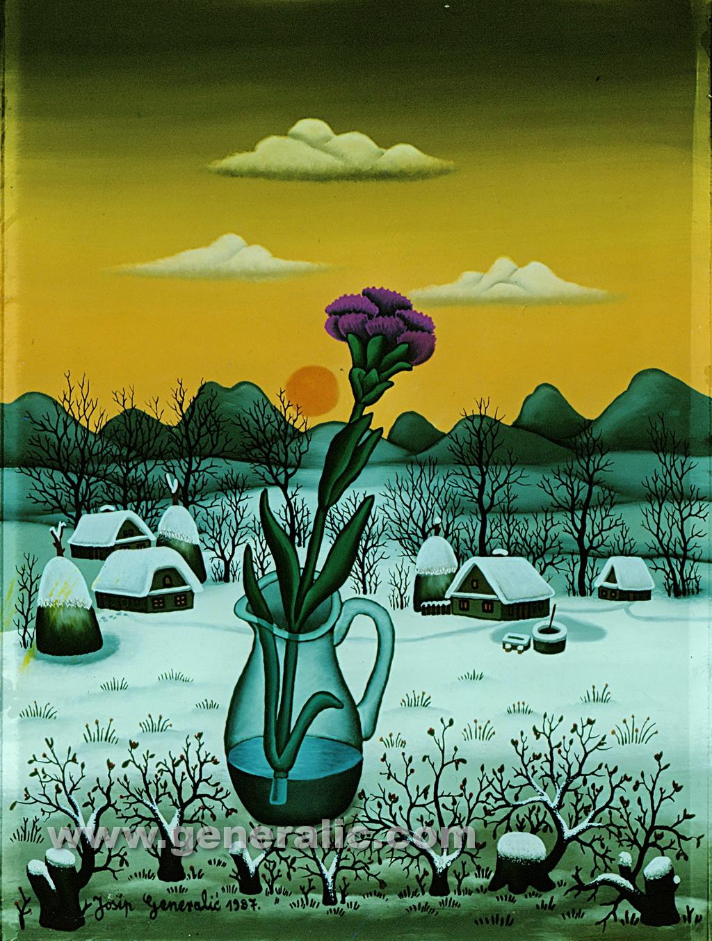 Josip Generalic, 1987, Winter flower, oil on glass