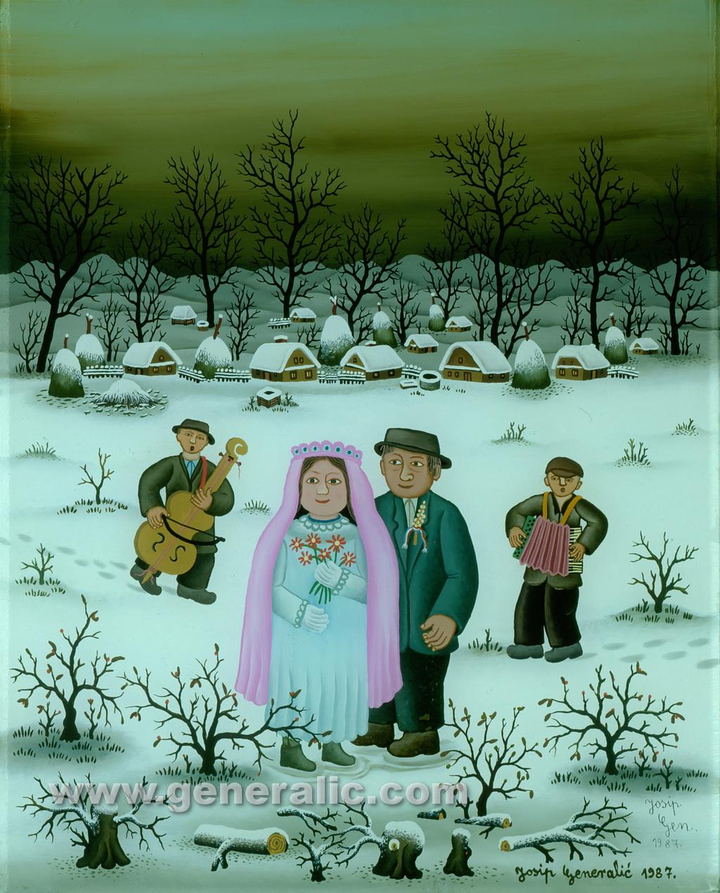 Josip Generalic, 1987, Winter wedding, oil on glass