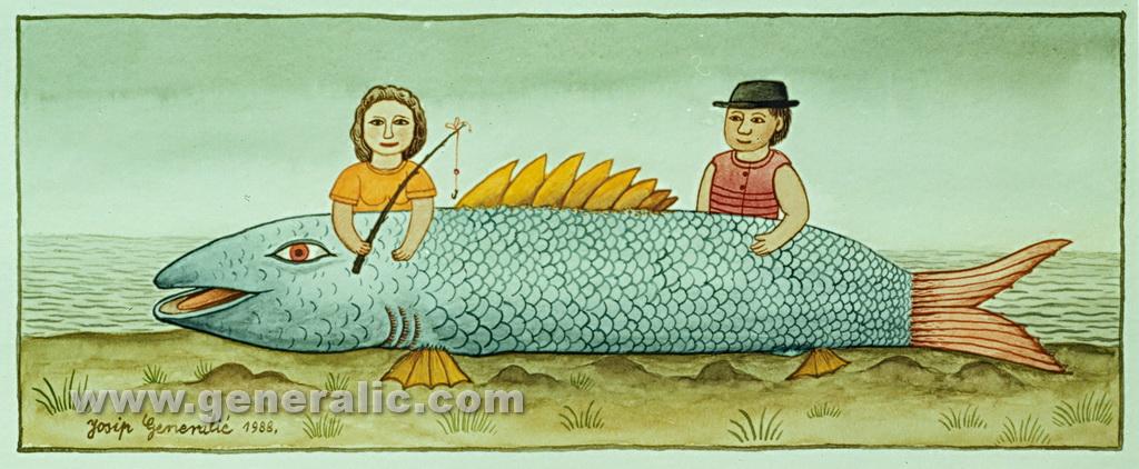 Josip Generalic, 1988, Big blue fish, watercolour
