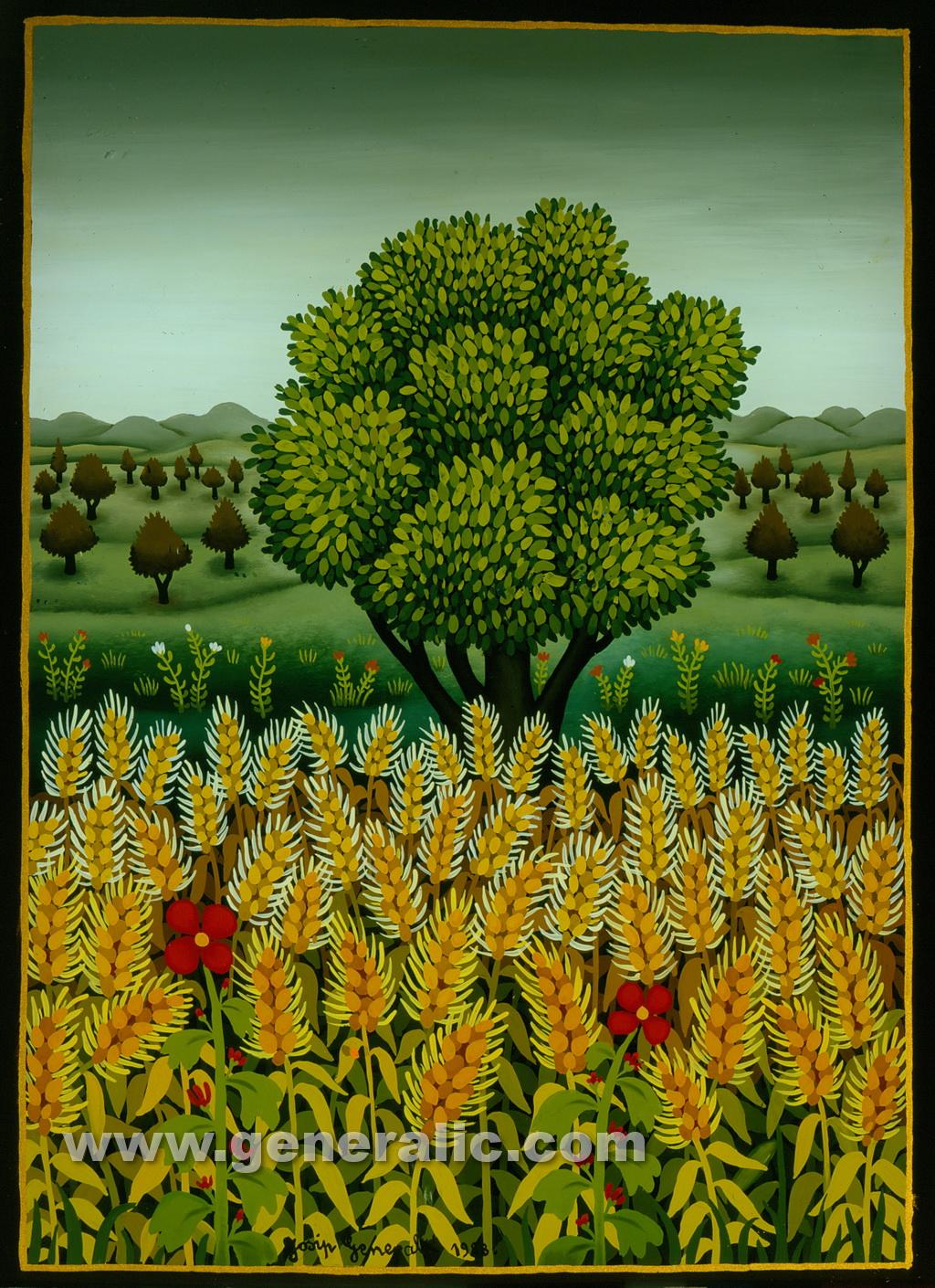 Josip Generalic, 1988, Hay field, oil on glass