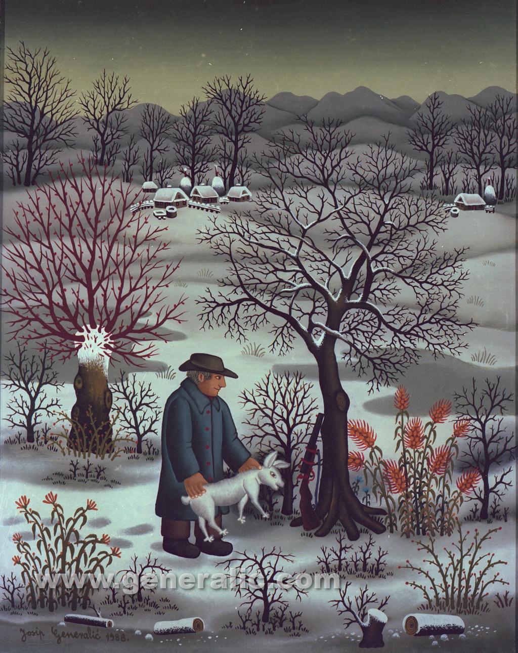 Josip Generalic, 1988, Hunter with a rabbit, oil on glass