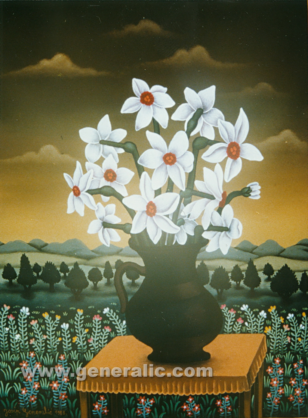 Josip Generalic, 1988, White flowers, oil on glass