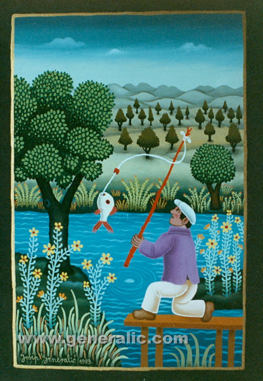 Josip Generalic, 1989, Fisherman with white fish, oil on glass