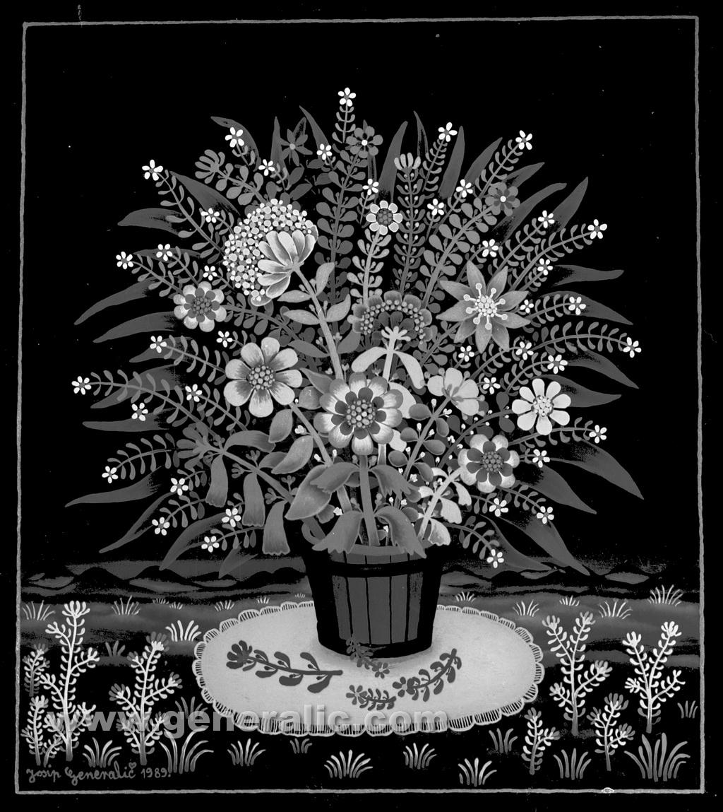 Josip Generalic, 1989, Flowers in a bucket, oil on glass