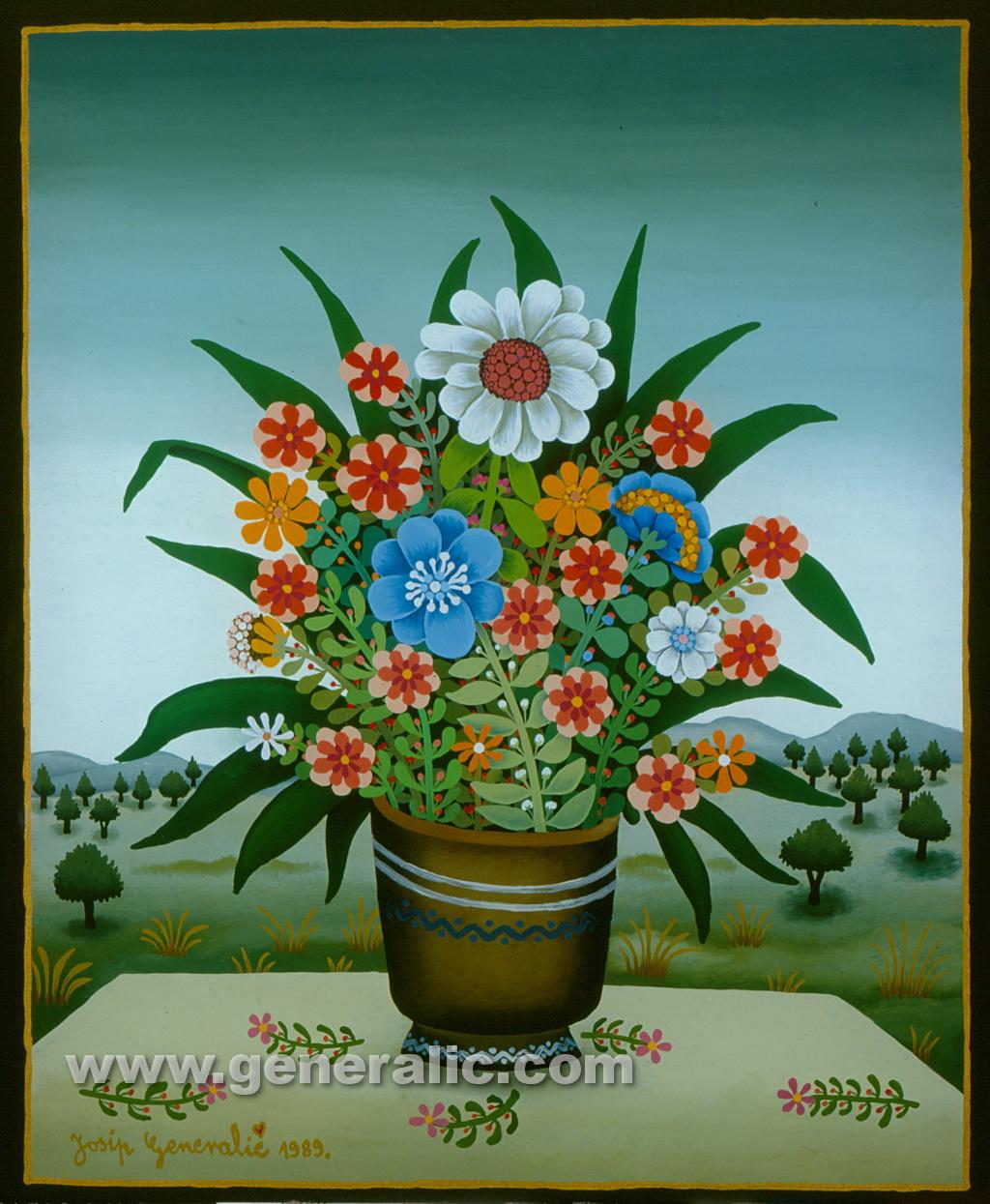 Josip Generalic, 1989, Flowers with landscape, oil on glass