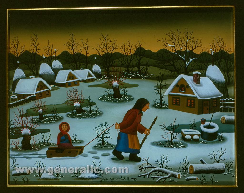 Josip Generalic, 1989, On the sledge, oil on glass