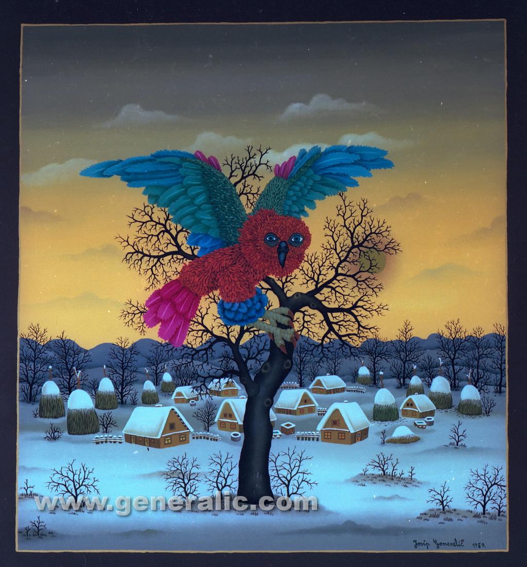 Josip Generalic, 1989, Owl on a tree, oil on glass