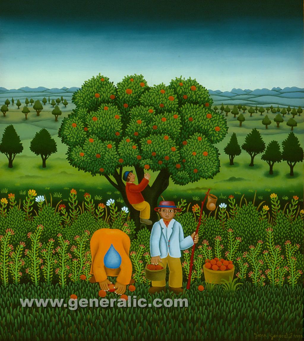 Josip Generalic, 1989, Picking the apples, oil on glass