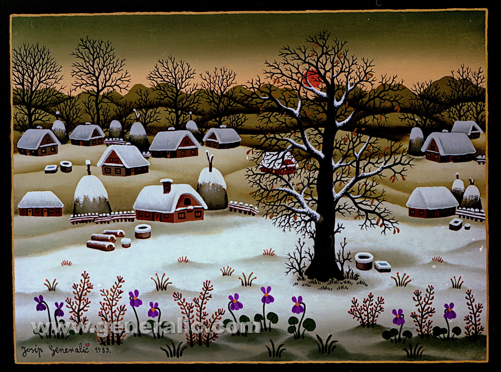 Josip Generalic, 1989, Winter with violets, oil on glass