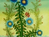 Josip Generalic, 1980, Blue flowers with butterfly, oil on glass, 50x25 cm