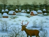 Josip Generalic, 1984, Deer in winter, oil on glass