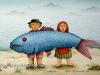 Josip Generalic, 1985, Big blue fish, watercolour