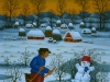 Josip Generalic, 1985, Skater and snowman, oil on glass