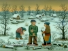 Josip Generalic, 1985, Skaters in winter, oil on glass