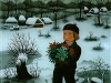 Josip Generalic, 1987, Boy with flowers, oil on glass