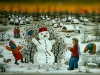 Josip Generalic, 1988, Playing with snowman, oil on glass