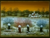 Josip Generalic, 1989, Winter with willows, oil on glass