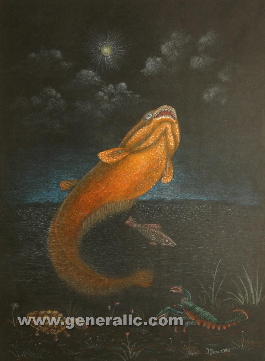 Ivan Generalic, 1992, Catfish, pastel, 50x36 cm