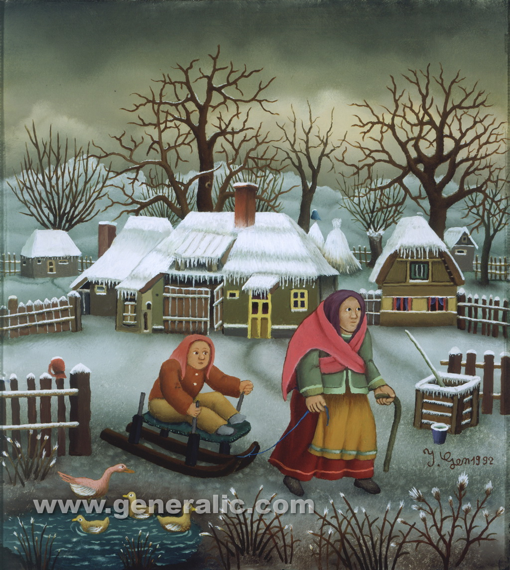 Ivan Generalic, 1992, Mother and daughter on sledge, oil on glass