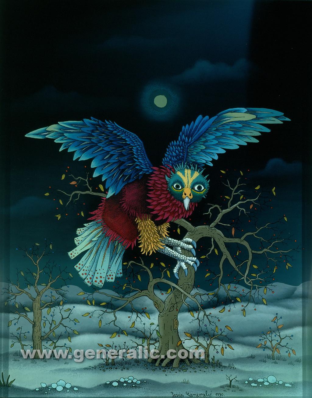Josip Generalic, 1990, Night owl, oil on glass