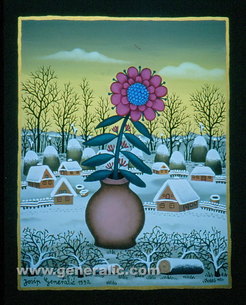 Josip Generalic, 1990, Pink flower, oil on glass