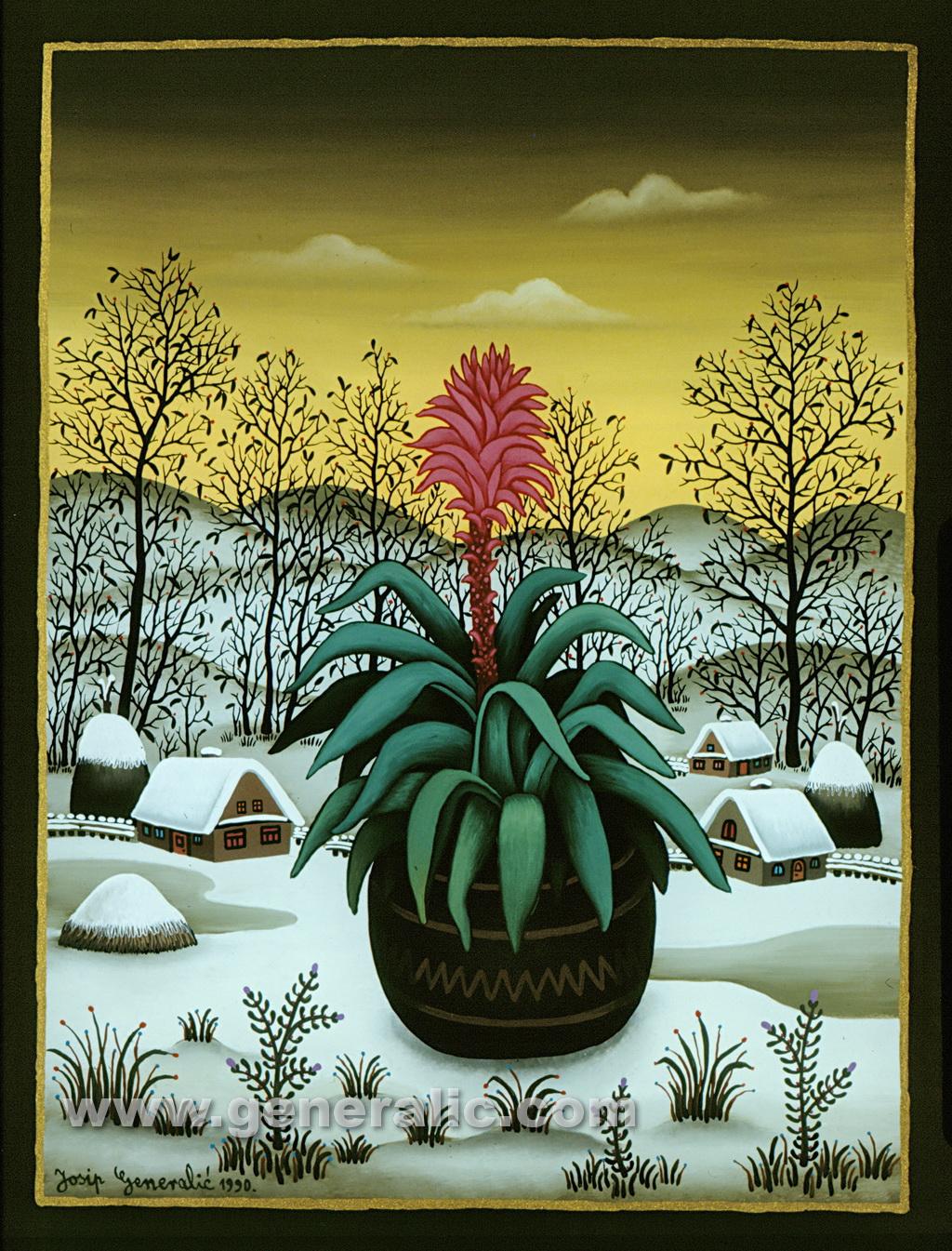 Josip Generalic, 1990, Red flower, oil on glass