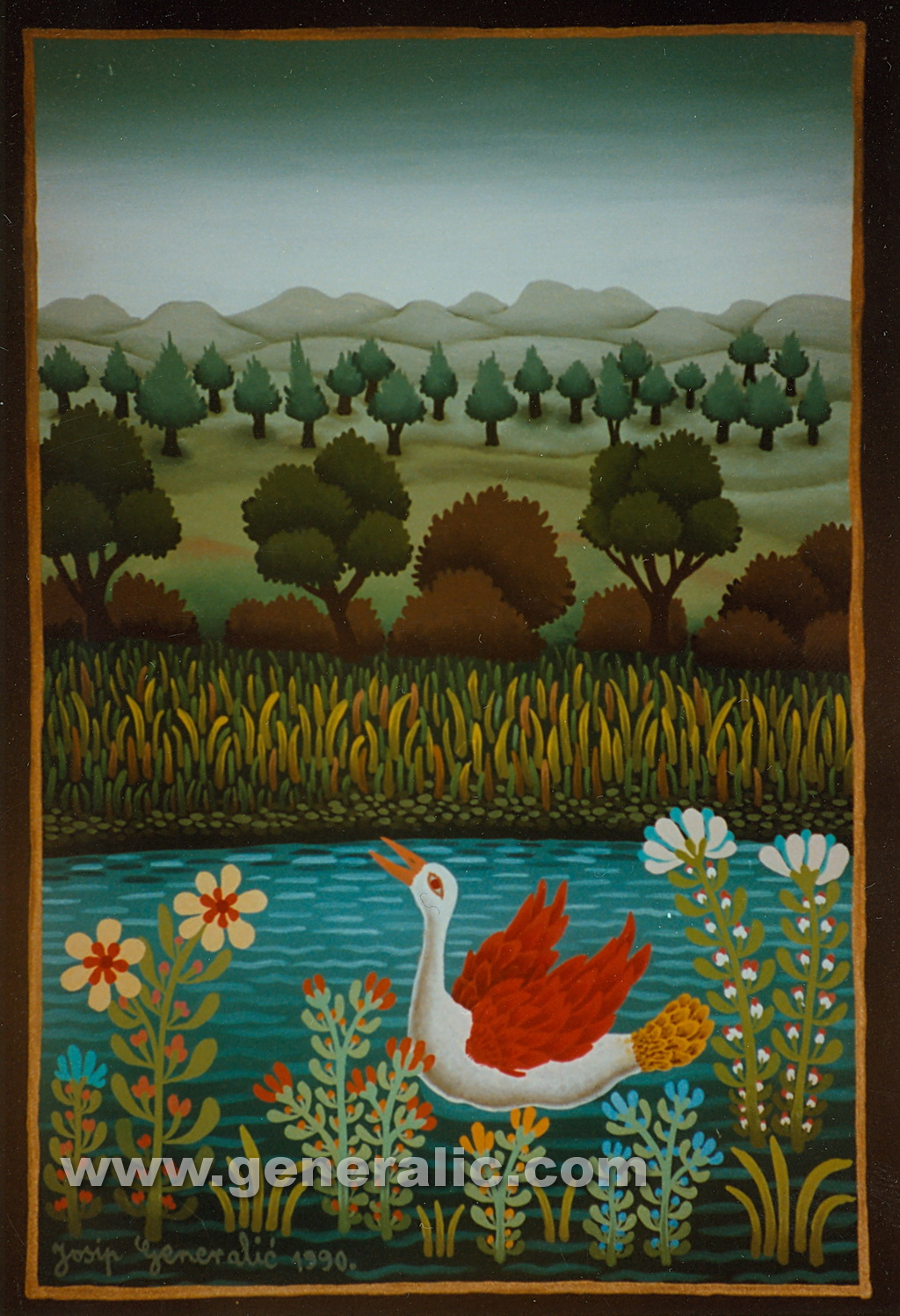 Josip Generalic, 1990, Swan with red wings, oil on glass