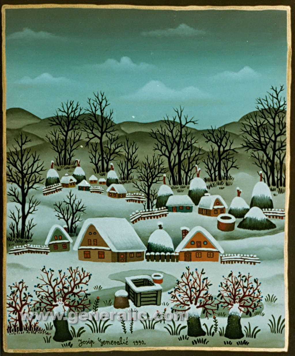 Josip Generalic, 1990, Winter, oil on glass, 28x23 cm