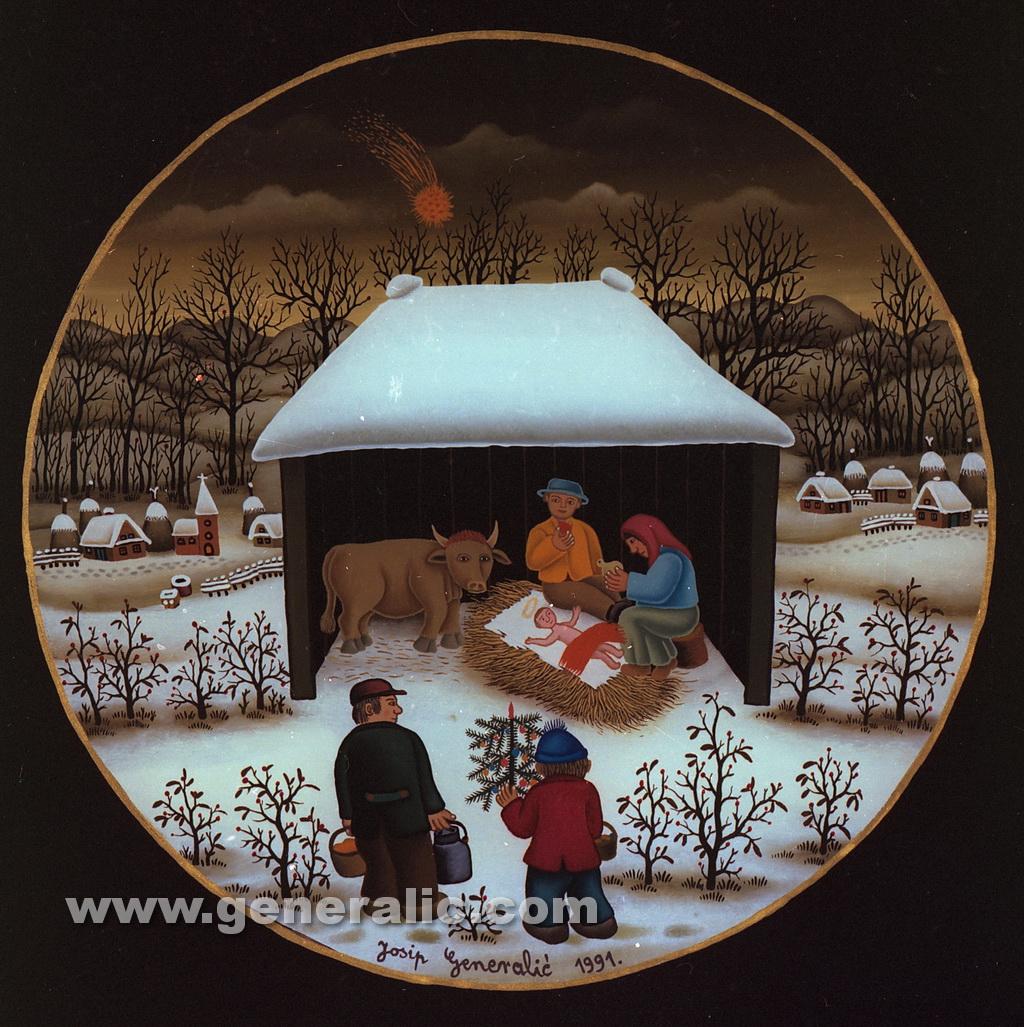 Josip Generalic, 1991, Christmas, oil on glass