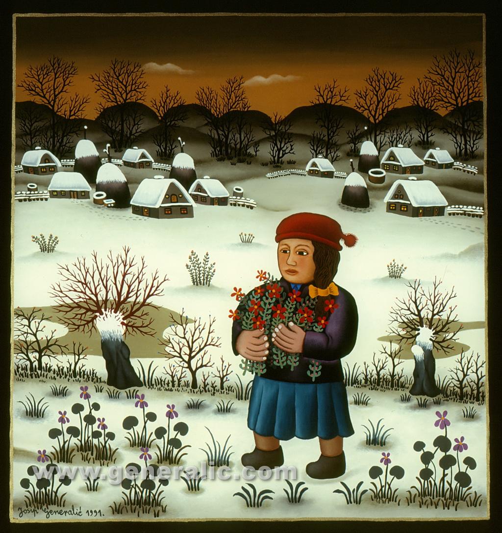 Josip Generalic, 1991, Girl with flowers, oil on glass