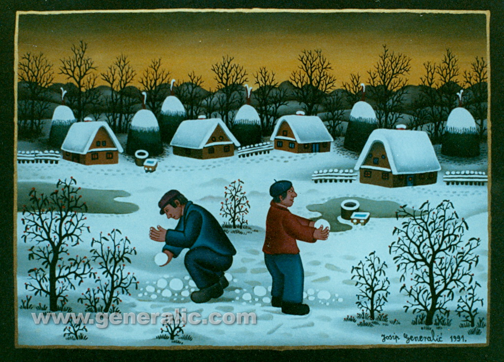 Josip Generalic, 1991, Making snowballs, oil on glass