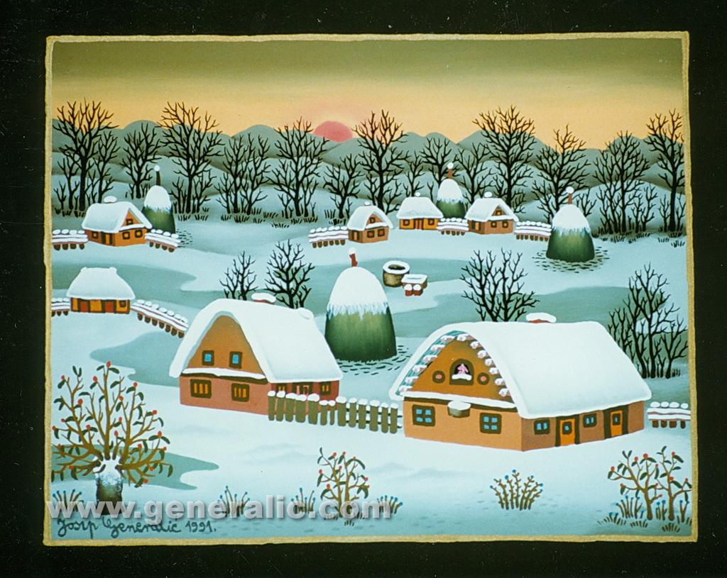 Josip Generalic, 1991, Small winter, oil on glass