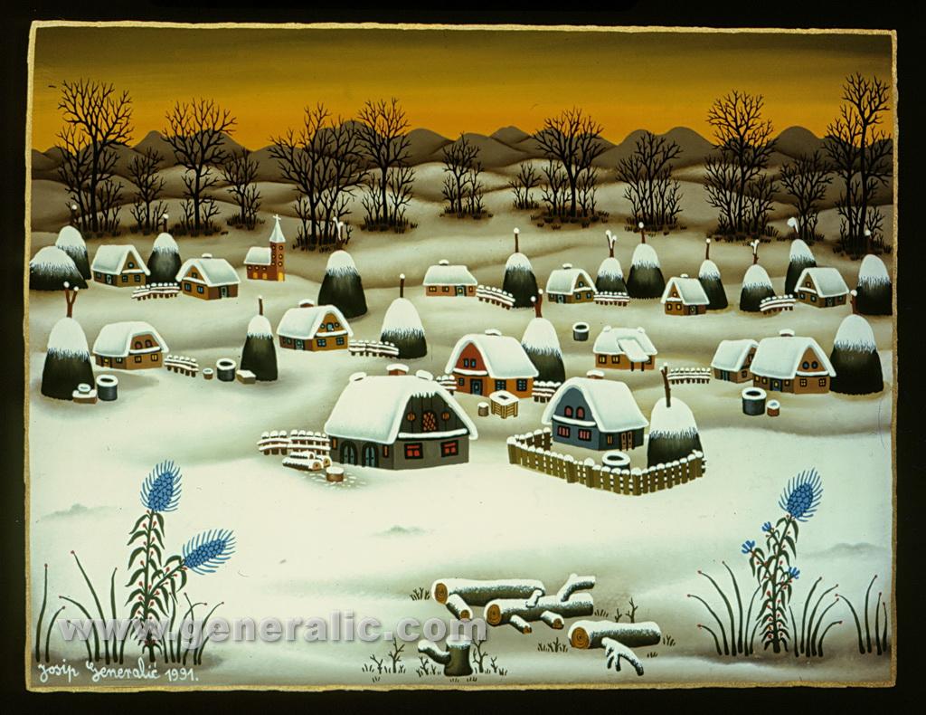Josip Generalic, 1991, Winter with blue flowers, oil on glass