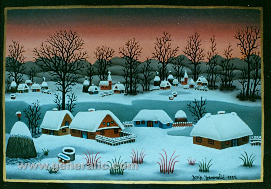 Josip Generalic, 1991, Winter with frozen lake, oil on glass