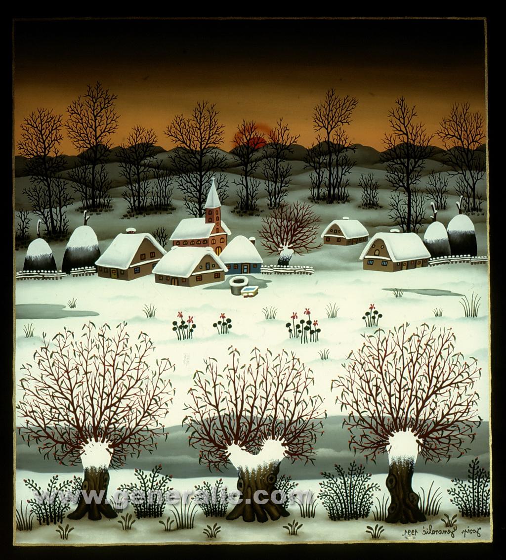 Josip Generalic, 1991, Winter with three willows, oil on glass