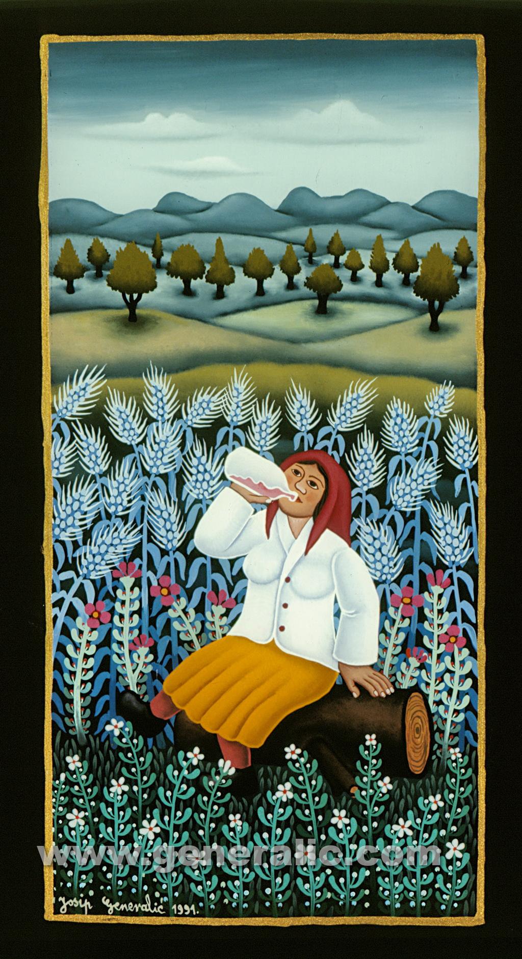 Josip Generalic, 1991, Woman is drinking, oil on glass