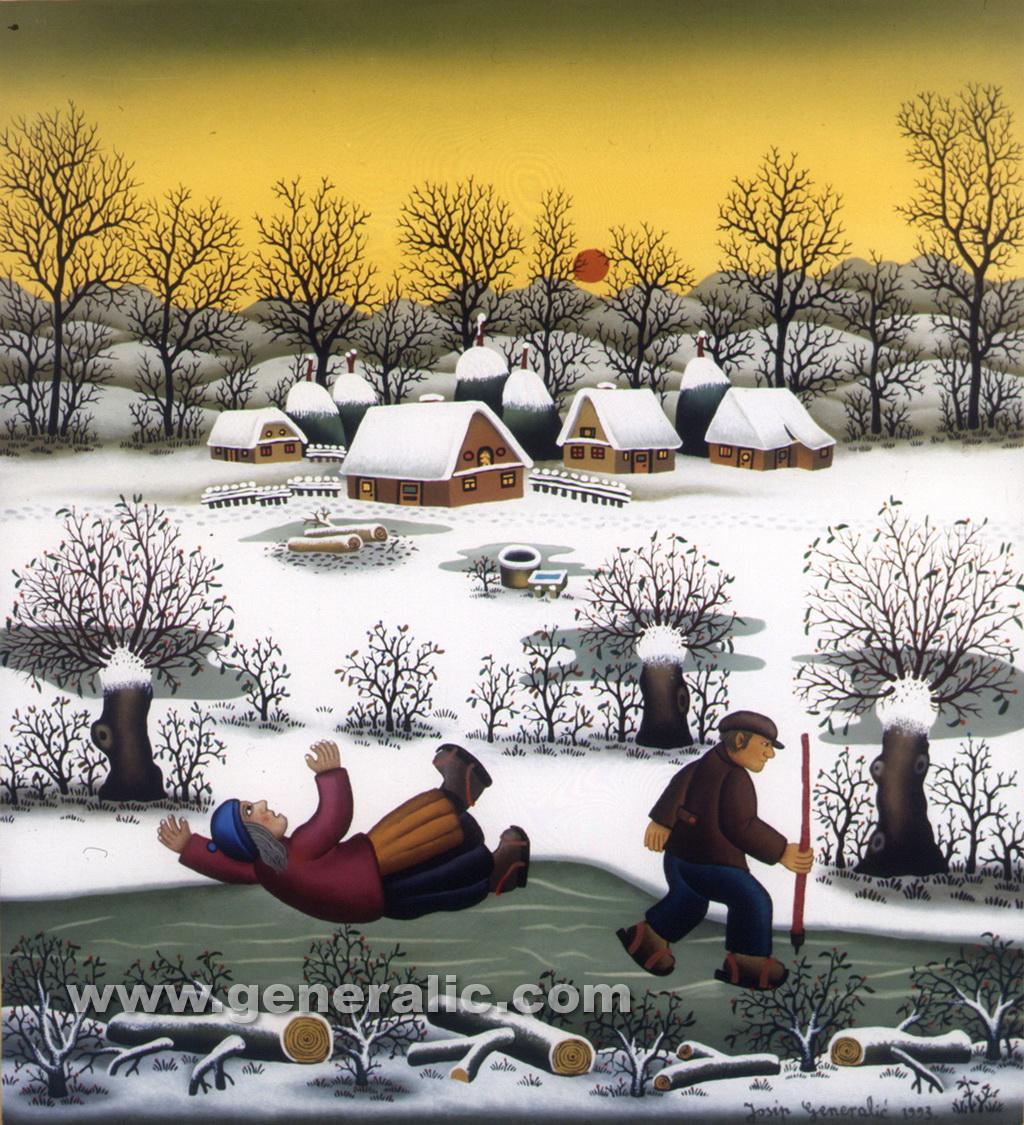 Josip Generalic, 1993, Little skaters, oil on glass