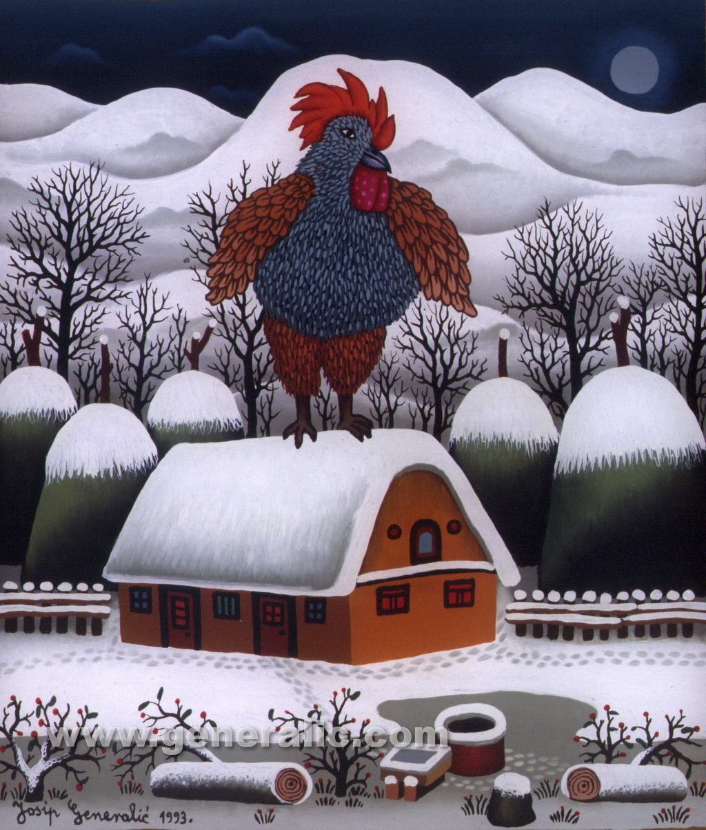 Josip Generalic, 1993, Rooster on a roof, oil on glass
