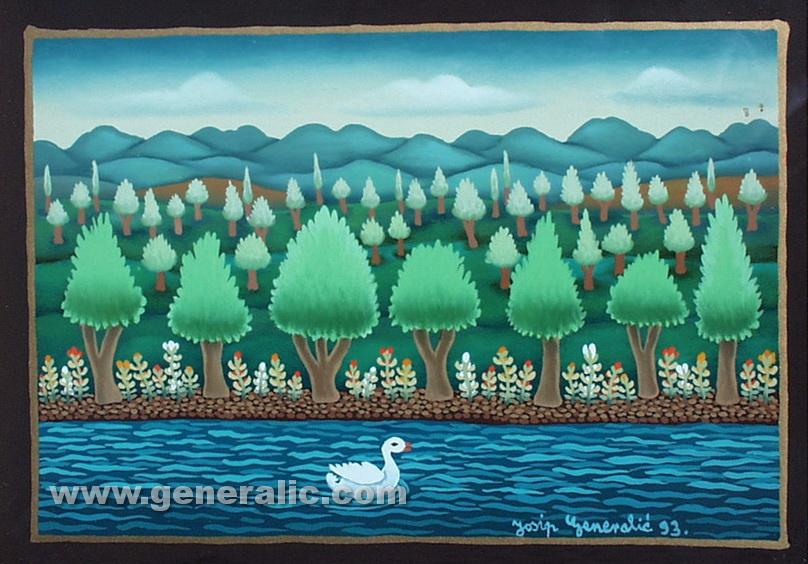 Josip Generalic, 1993, Swan in a river, oil on glass