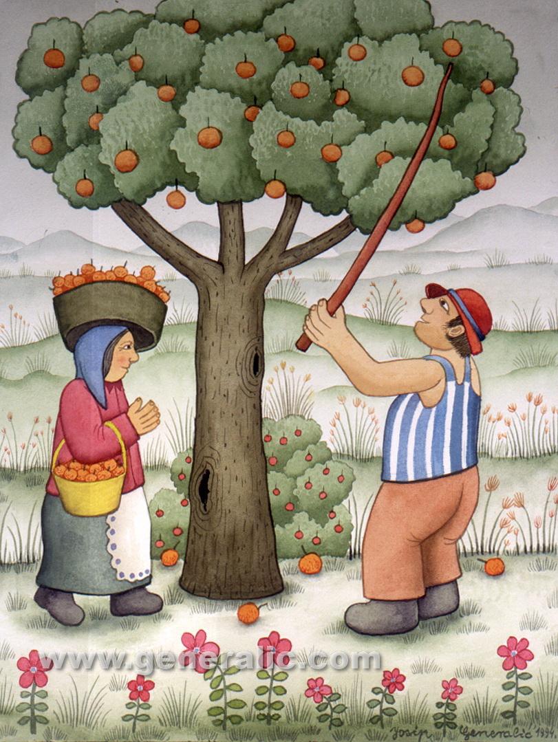 Josip Generalic, 1994, Apple gathering, watercolour