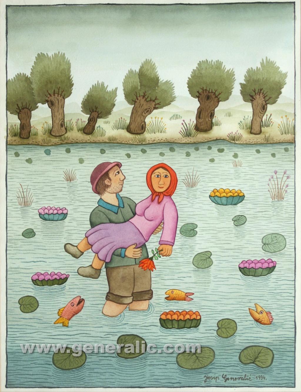 Josip Generalic, 1994, Boy carrying a girl, watercolour, 45x35 cm 40x30 cm